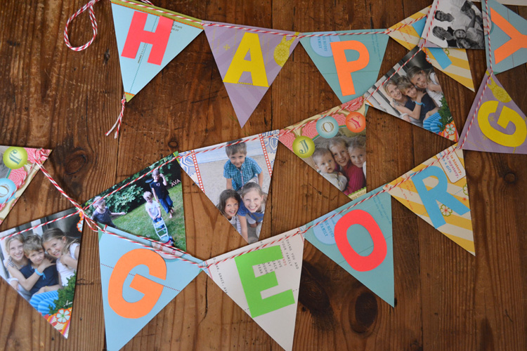 Birthday banner made from leftover cards