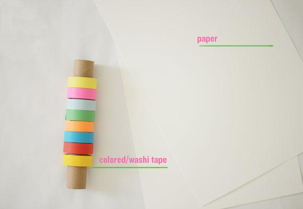 Children make art using colored tape