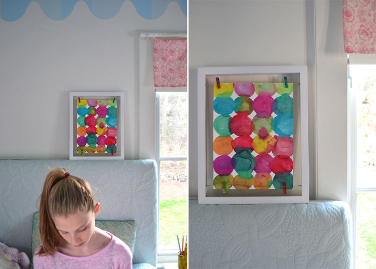 Kandinsky inspired circle painting art prompt for kids and floating frame.
