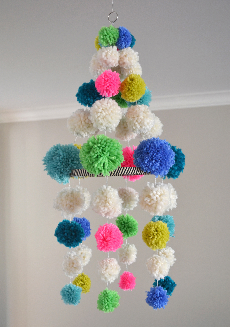 DIY pom-pom chandelier