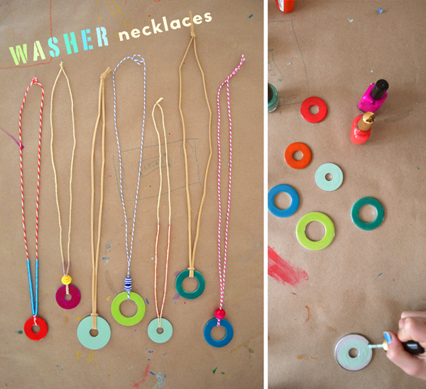 children make necklaces from washers and nail polish