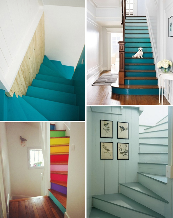 Blue Painted Stair Runner · Teal ...