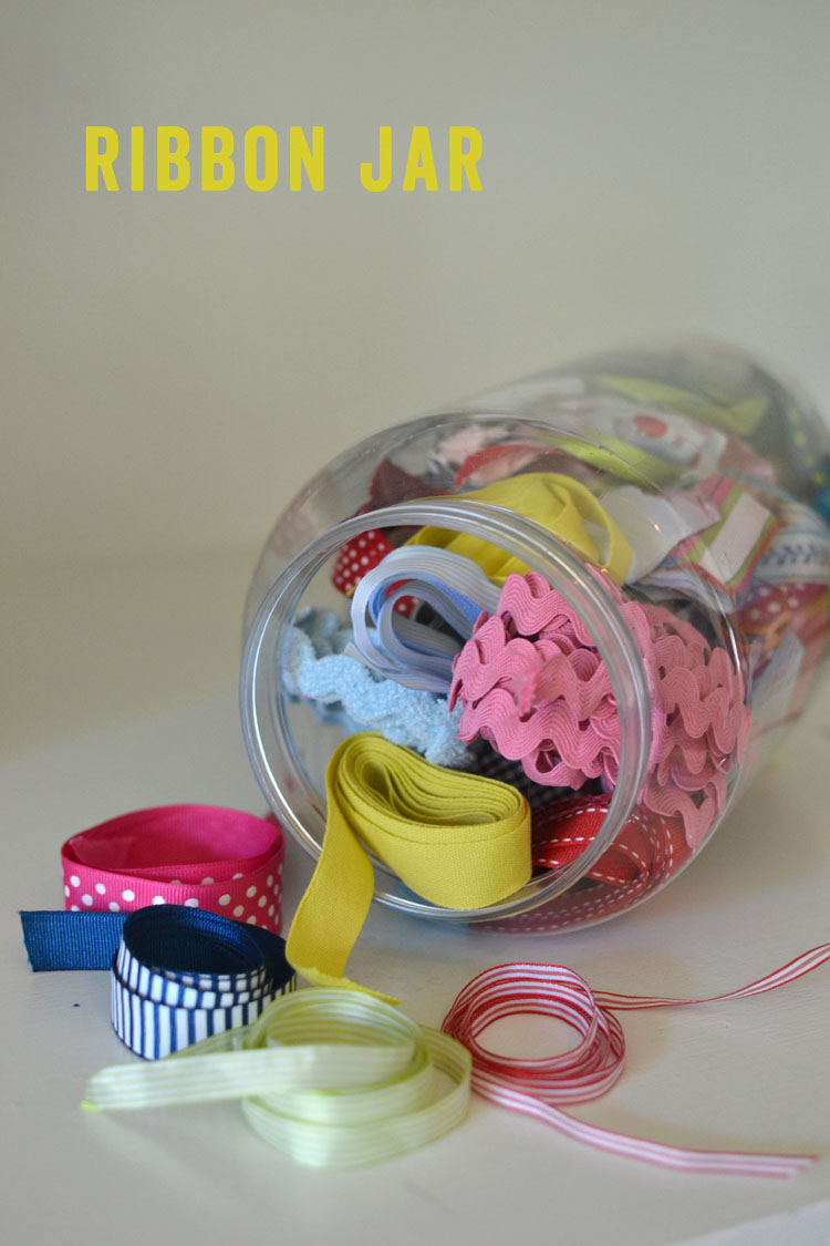 store your ribbons in a big clear jar ~ easy to see and find