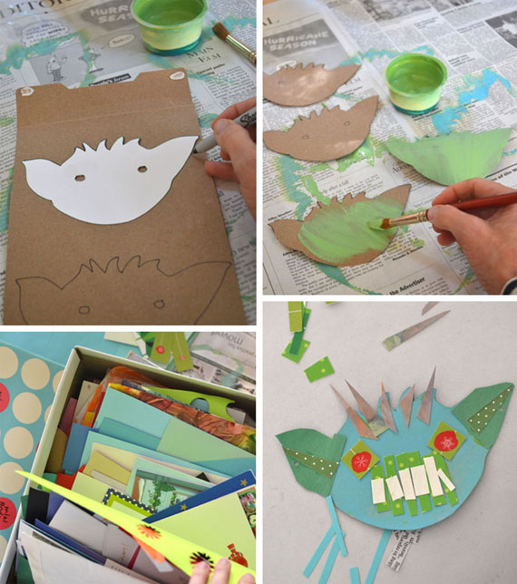 goblin garland ~ a collage craft made with recycled materials