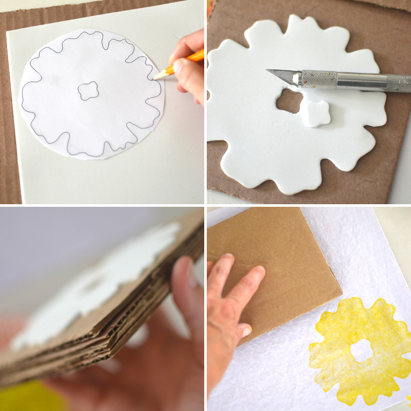 cutting a stencil from craft foam and mounting it onto cardboard