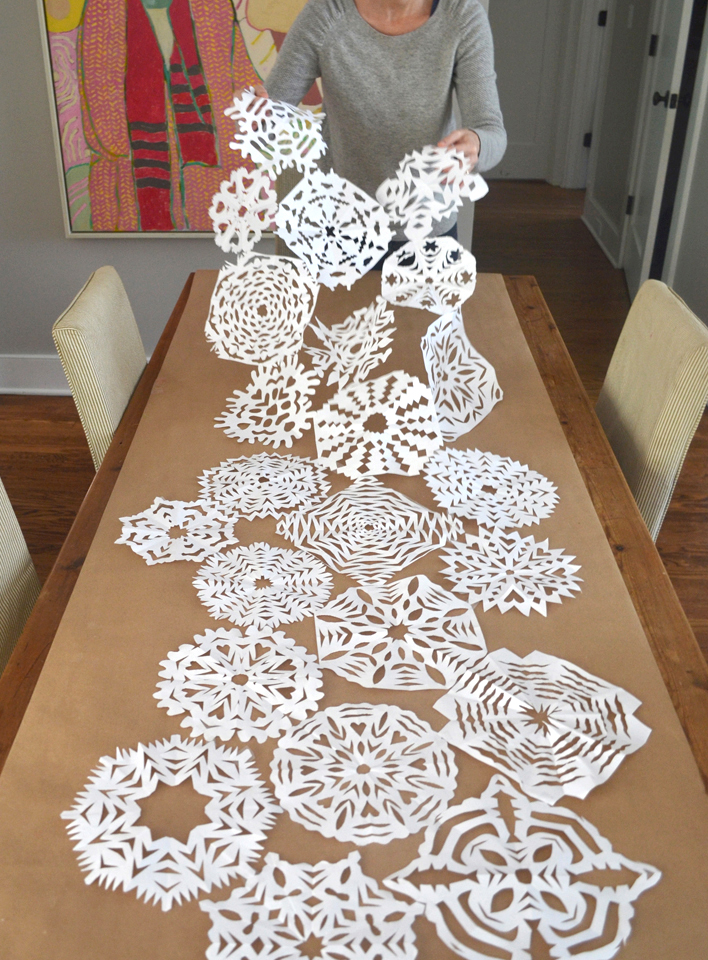 Make a snowflake table runner but taping snowflakes together.