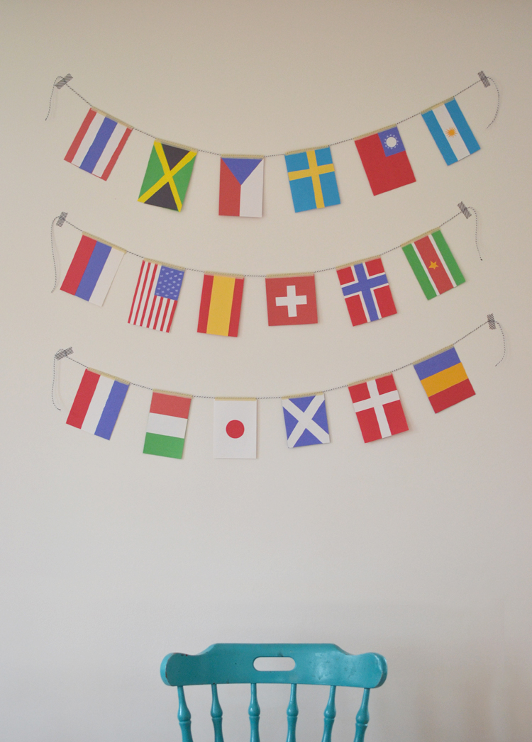 craft table: make flag garland and learn about the world