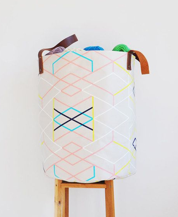 canvas basket on Etsy