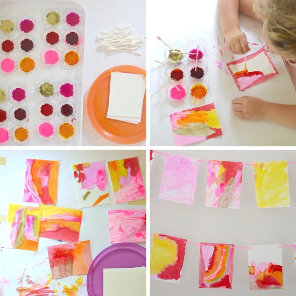 make a beautiful garland with liquid watercolors & q-tips