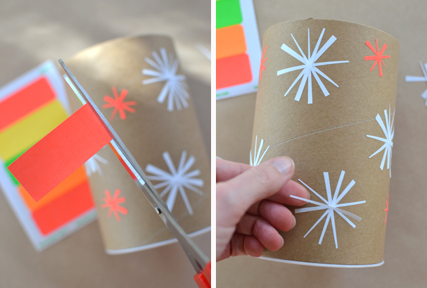 use mailing labels to make snowflakes