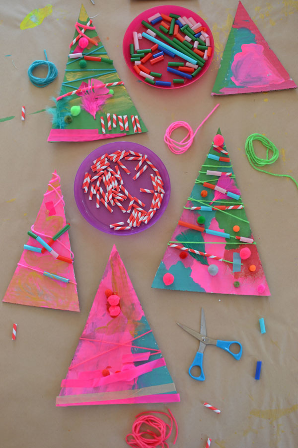 made by 4-year olds ~ using cardboard and collage bits