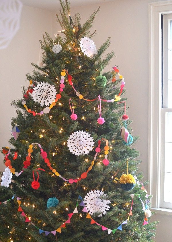 Christmas tree with handmade felt garland