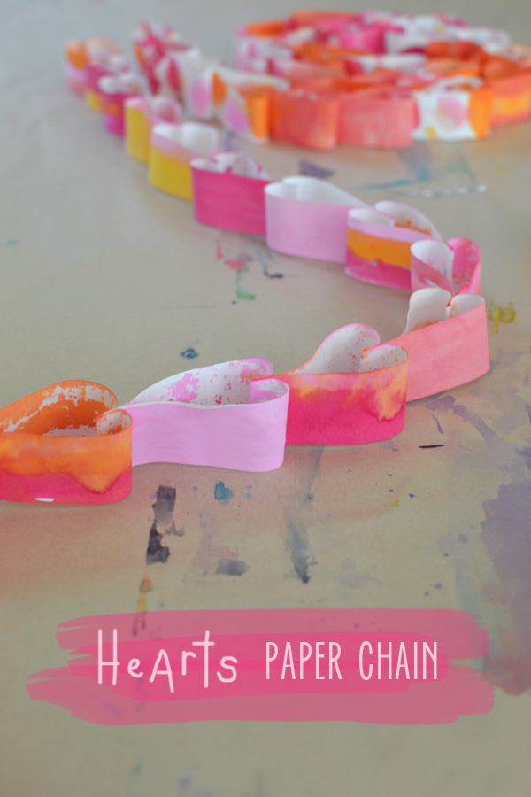painted heart paper chain using watercolors watercolors