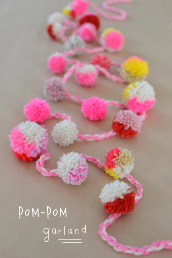 handmade pom-pom garland Anthropologie style