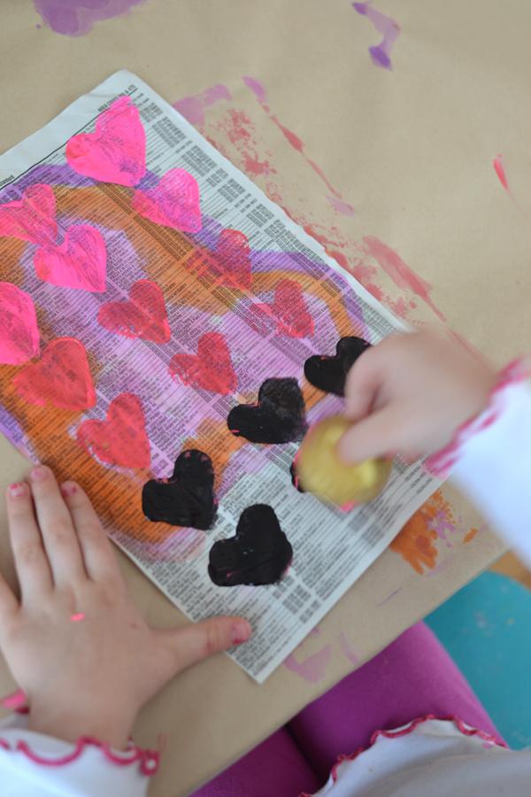 heart shaped potato stamped garland
