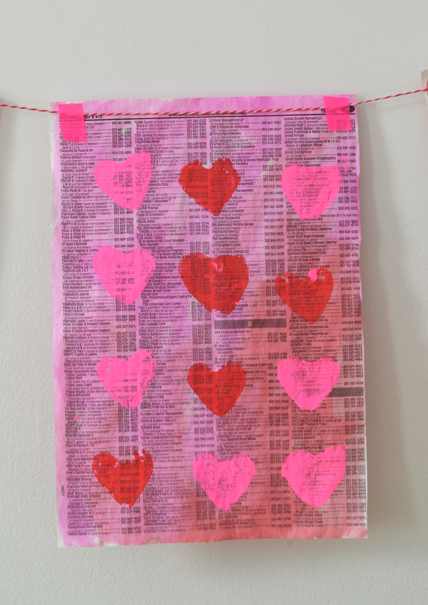 heart shaped potato stamped garland