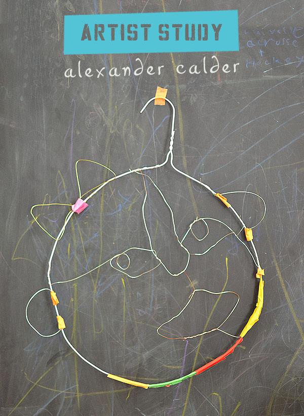 kids make faces from wire in the style of American artist and sculptor Alexander Calder