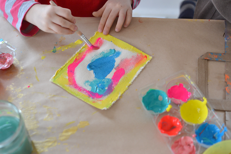 Kids Love Painting On New Materials Here Use Tempera Paints To Create Little Works