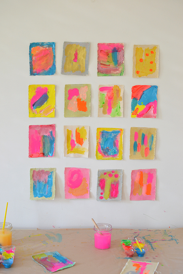 kids love painting on new materials ~ here kids use tempera paints to create little works of art