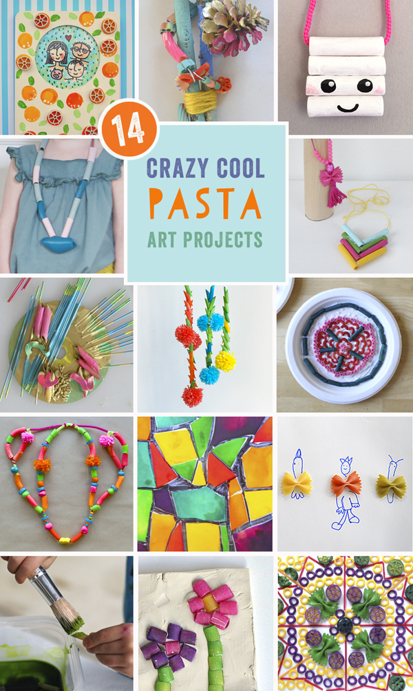 the best ideas for art projects with pasta, from the Rockin' Art Moms