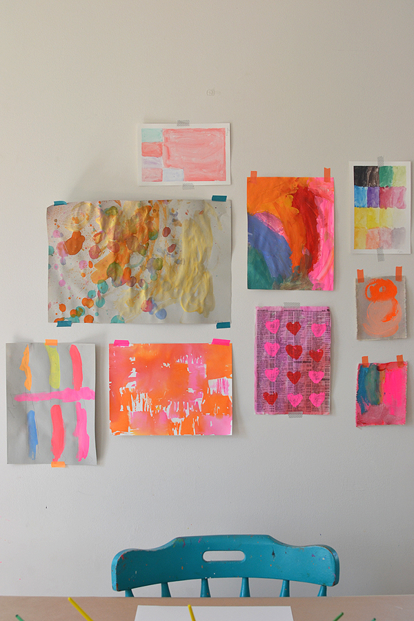 hang up a gallery wall of kids art with washi tape