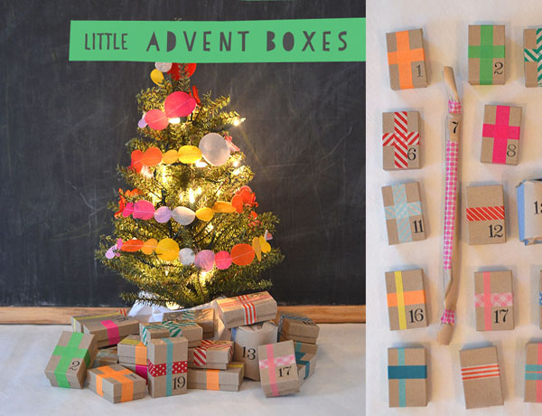 Create an advent calendar using little jewelry boxes and a little tree