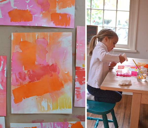 children use crepe paper streamers and water to transfer the color onto paper and make these cool prints