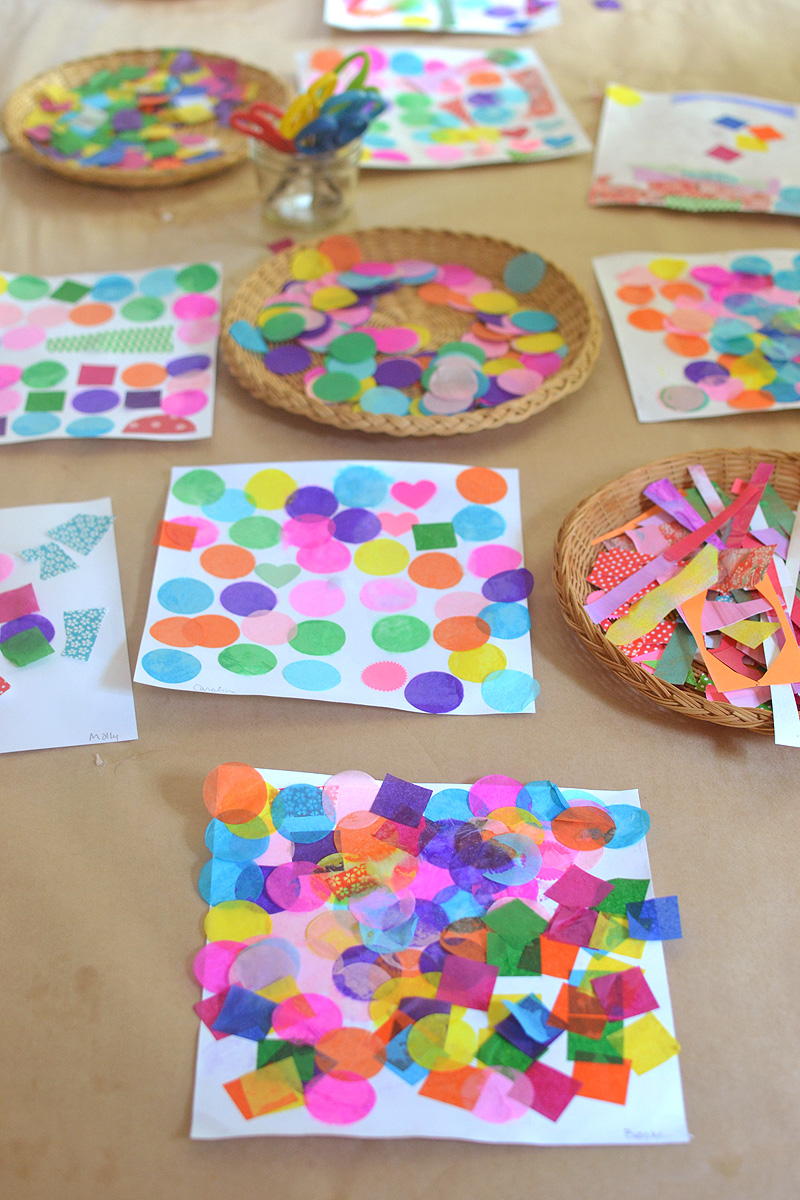 children use tissue paper shapes to make a collage ~ learning through art