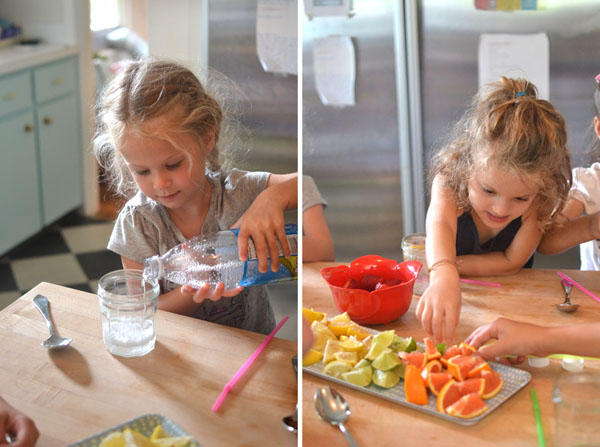 Set out a fruit and seltzer bar and kids can make their own fizzy concoctions.