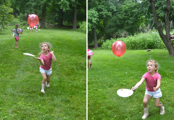 Kids decorate paper plates with wash tape and make a balloon ping-pong game.