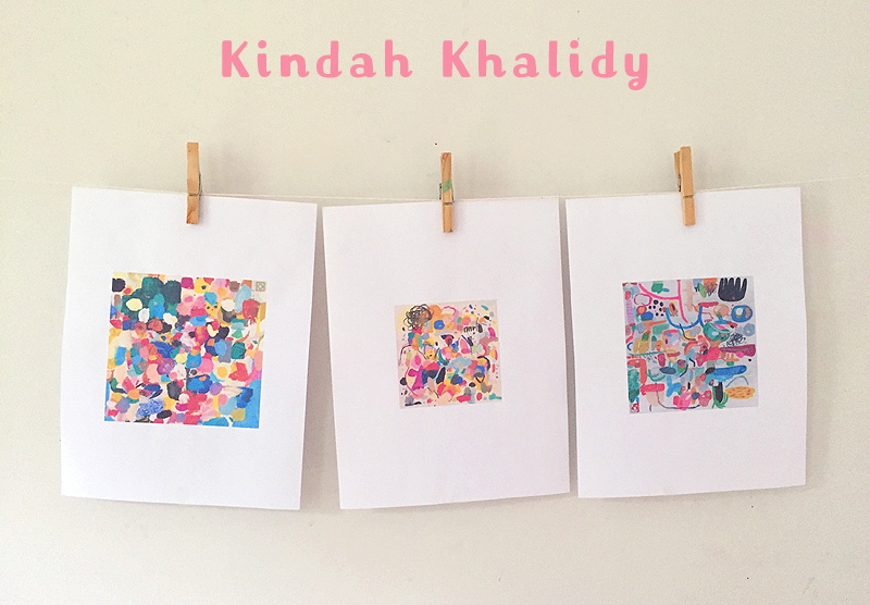 Children learn about acrylic paints by just digging in and experimenting on fabric. Their paintings are then framed in an embroidery hoop. Inspired by artist Kindah Khalidy.