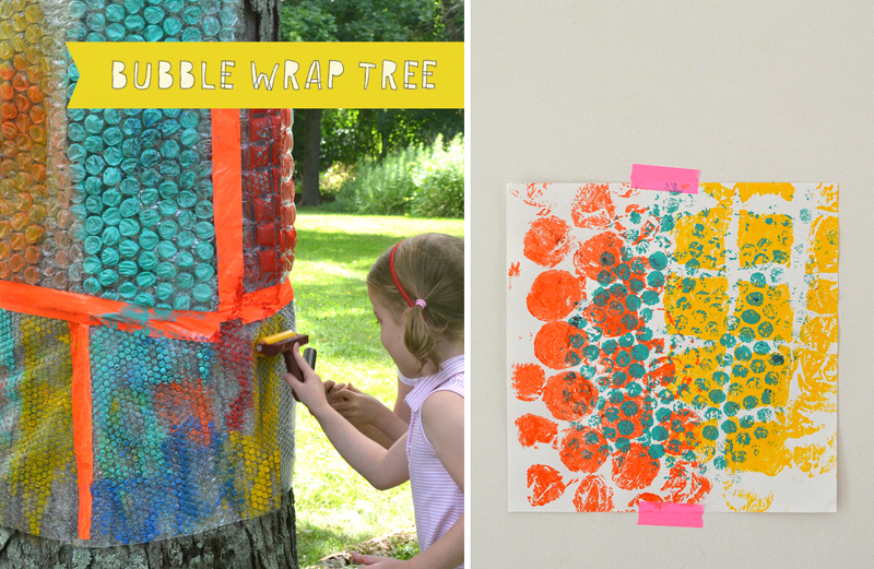 Kids use rollers and acrylic paint to make print from the bubble wrap tree