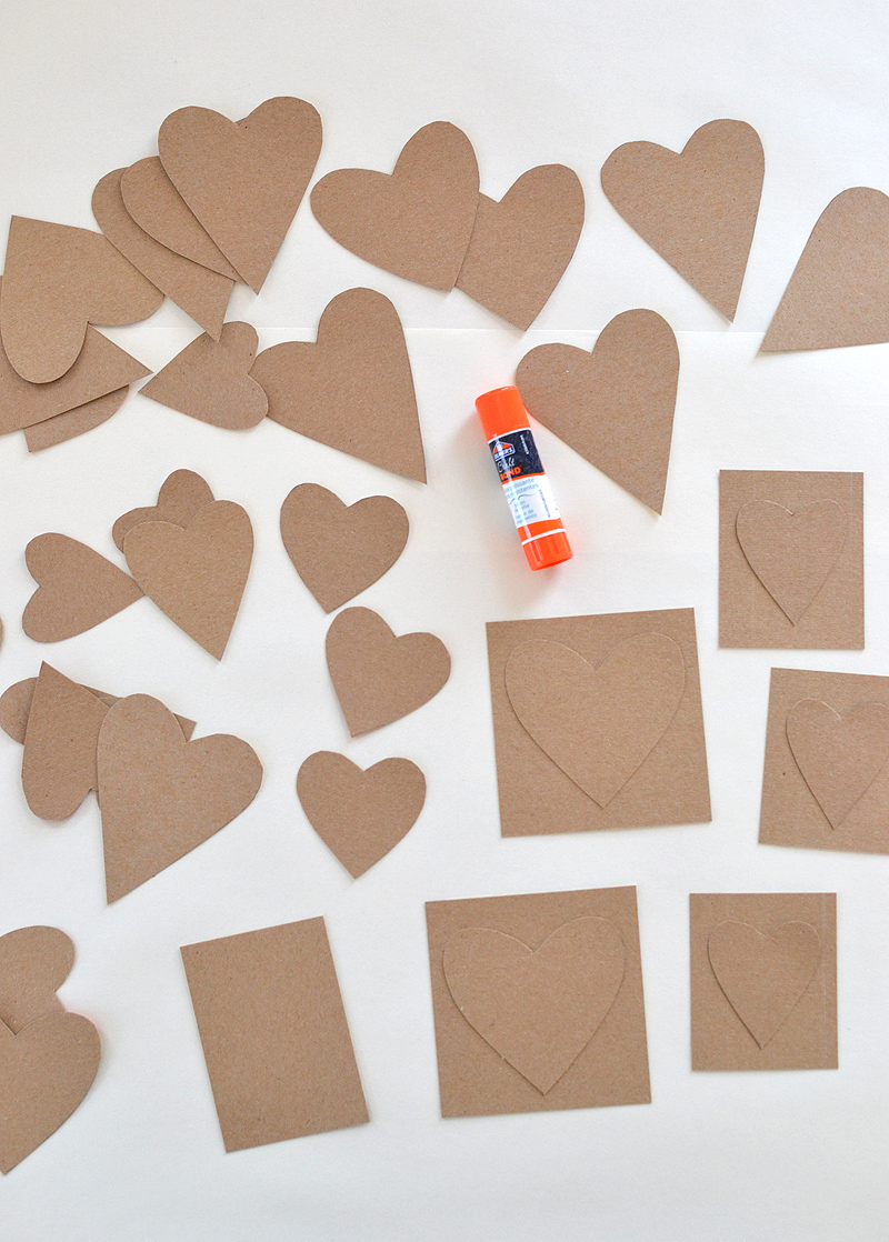 make these sweet heart cards from cereal boxes and acrylic paints