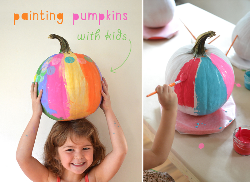 After using this one trick, the kids paint vibrant and colorful pumpkins using temperas and collaging with tissue paper.