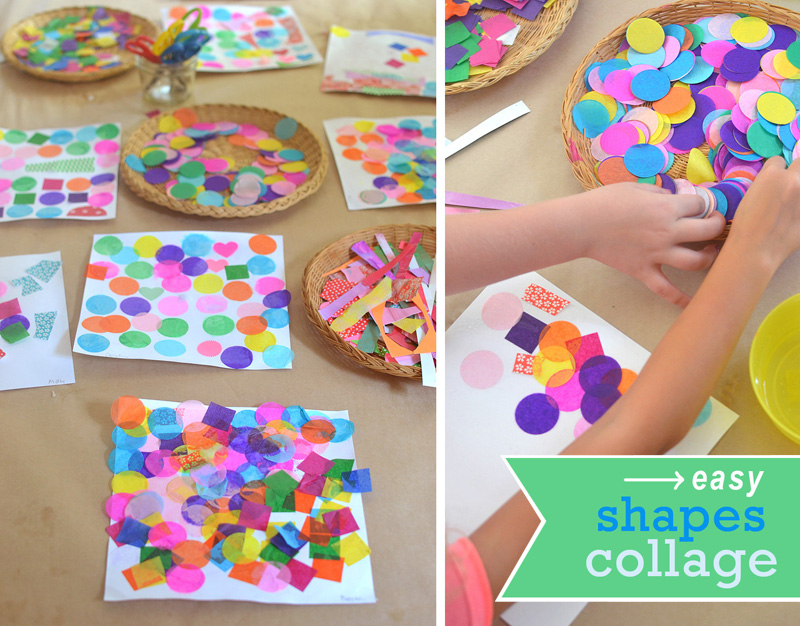 Children learn about circles and squares as they make shape collages from tissue paper.
