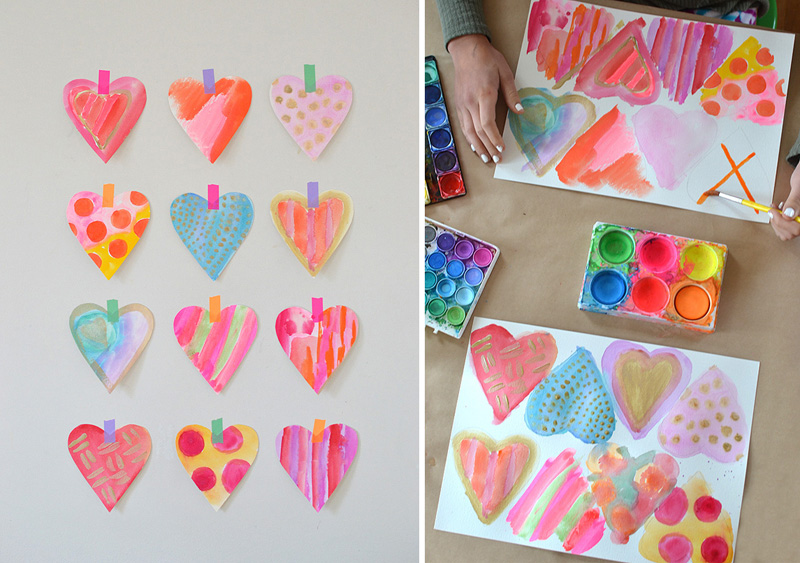 the simplest technique for making the prettiest watercolor hearts