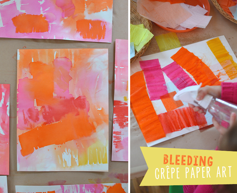 kids use tissue paper and a spray bottle of water to create bleed paintings
