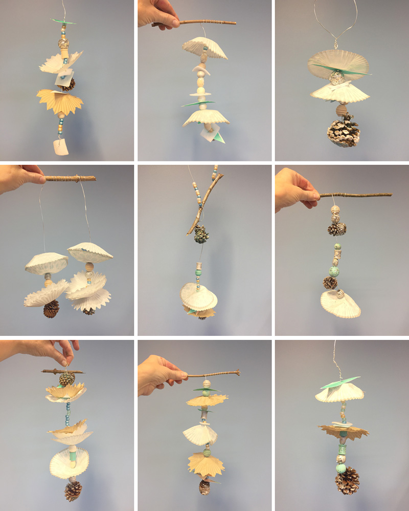 kids make winter inspired mobiles with a collection of different materials, including wooden beads, cupcake liners, and pinecones. and don't forget the secret ingredient that will keep kids at the table forever!