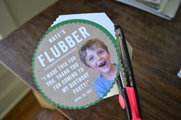 Flubber label for party favors.