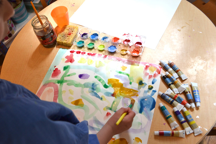 tube watercolors with kids