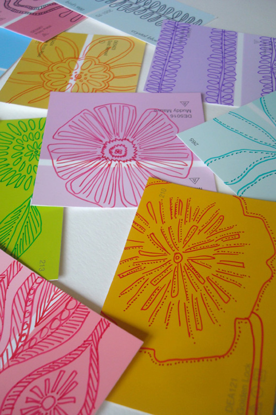 make gift tags by doodling on paint chips