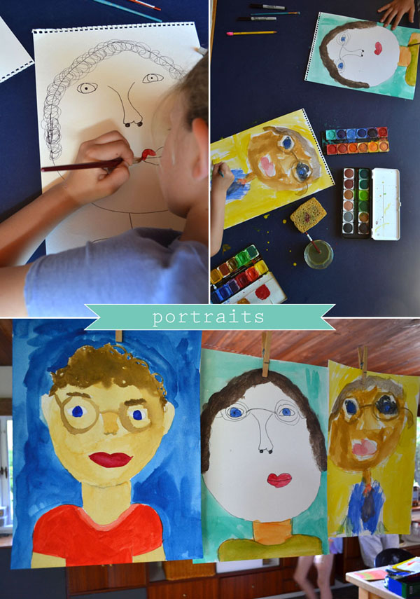 painting portraits of their dad for Father's Day