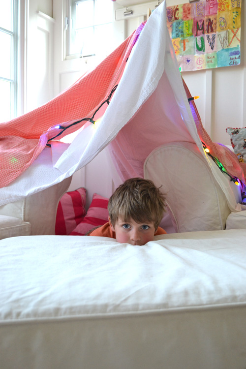 "Kids love forts! It's true. I have never met a child who doesn't love small, enclosed spaces where they can hide their stuff, and hide themselves. I remember as a kid begging my parents to let me sleep in the basement, in the small storage room that was full of secret stuff. They let me! I moved my bed and all of my nicknacks to the basement. I remember that first night, feeling so lucky to have a ""new room"" that was dark and small and fort-ish (emphasis on ""ish""). It was an exciting time! Until I heard the scratch, scratch of little teeny paws."