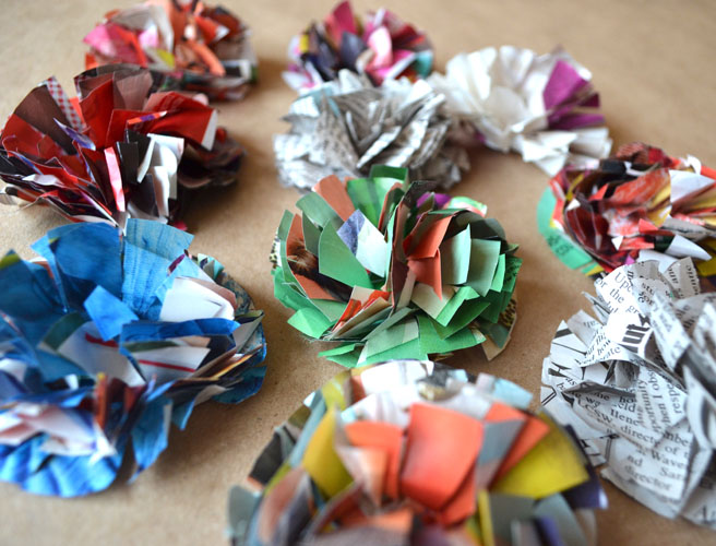 paper flowers made from magazines and catalogs