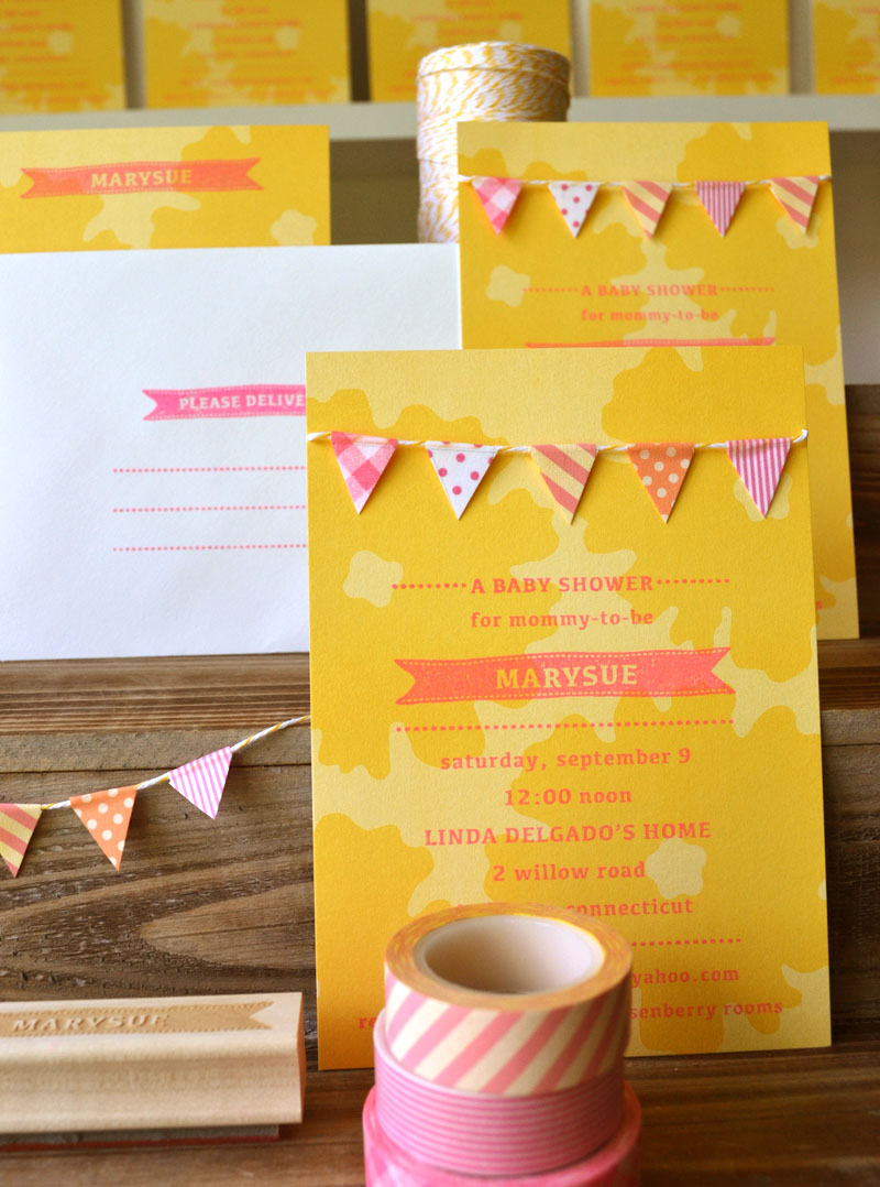 Custom designed baby shower invitation in YELLOW with washi tape garland