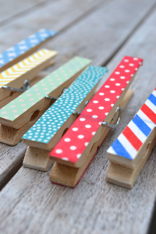 decorate clothespins with washi tape