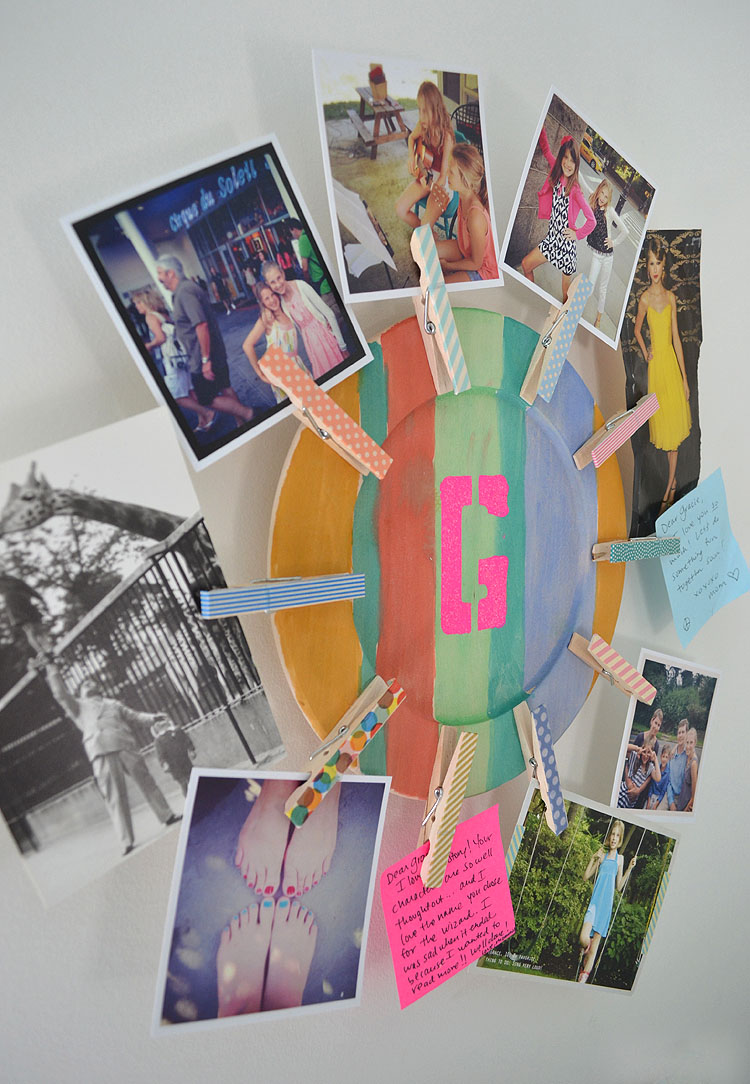 Make a photo holder from clothespins and a wooden plate