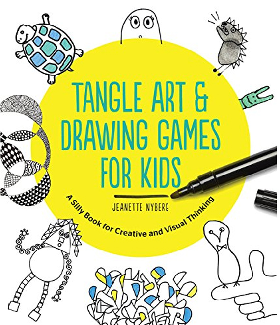 this Tangle Art book loosens kids up to draw because the writing is funny and the games are silly
