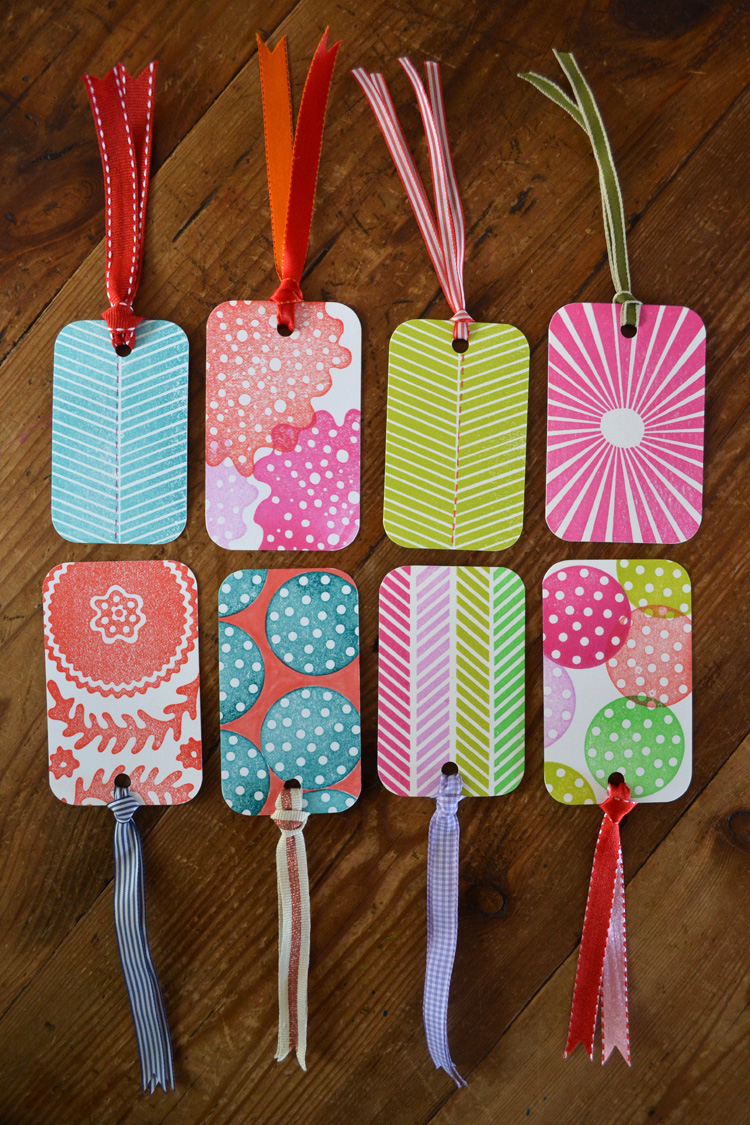Gift tags made with custom rubber stamps