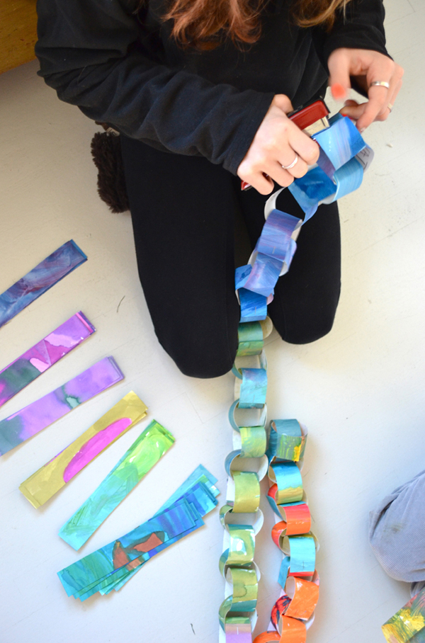 Paper Chain from Recycled Art